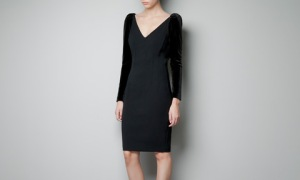 Zara Dress with Velvet Sleeves